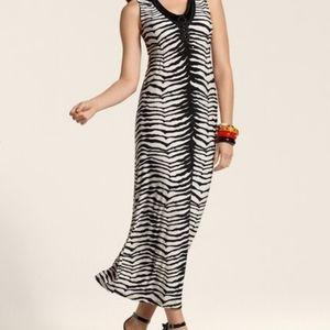 CHICO'S Animal Print Andi Maxi Dress Black Ecru 3